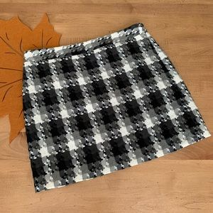Ann Taylor LOFT Black & White Plaid Mini Skirt